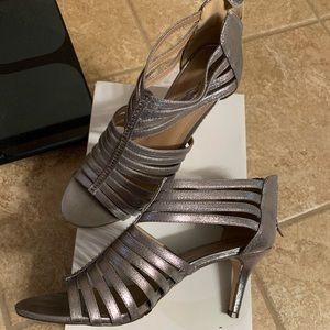 Pewter strappy heels